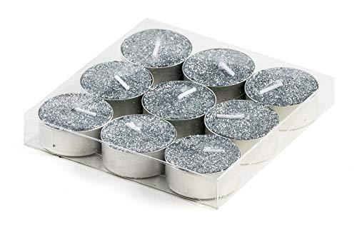 DARO DEKO Teelichter mit Glitzer in Silber - 36 Stück