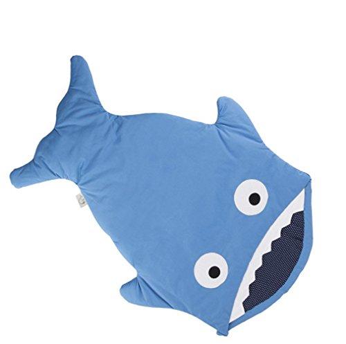 Edredón Anti-Patada de Algodón para Bebés, Saco de Dormir para Bebés Tipo Tiburón (Azul, 0-12 Meses)