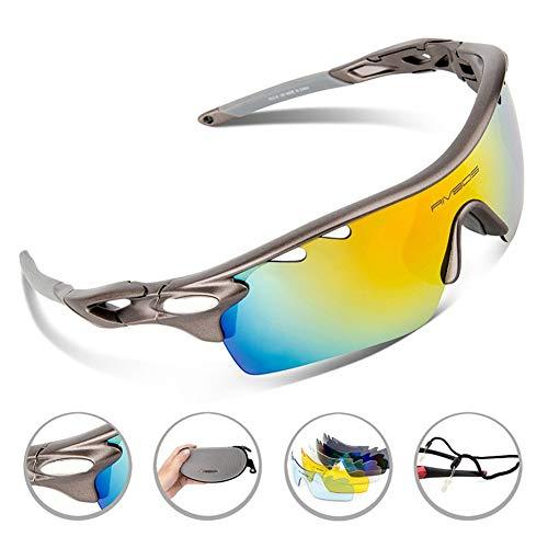 Reitbrillen polarisierte Sportbrillen Fahrradbrillen Männer und Frauen im Freien Winddichte Sandbrillen, grau