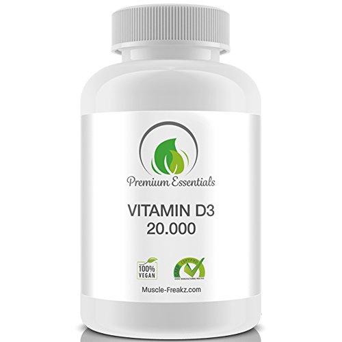 Vitamin D3 20000 I.E., 180 – 360 Tabletten (vegan), extra hochdosiert, eine Tablette alle 20 Tage, Premium-Qualität aus Deutschland (360) (E Vitamin 10000 Pillen)