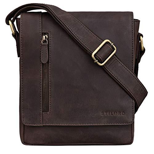 STILORD \'Easton\' Kleine Messenger Bag Echt Leder Vintage Umhängetasche im Hochformat 10,1 Zoll Tablet Tasche für iPad DIN A5 Schultertasche Echtleder, Farbe:Muskat - braun