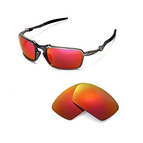 Walleva Ersatzgläser für Oakley Badman Sonnenbrille - Mehrere Optionen (Feuerrot Mirror Coated - Polarisiert)