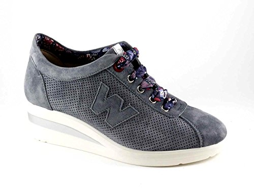 Melluso WALK R20110 jean chaussures de sport coincent lacets Blu