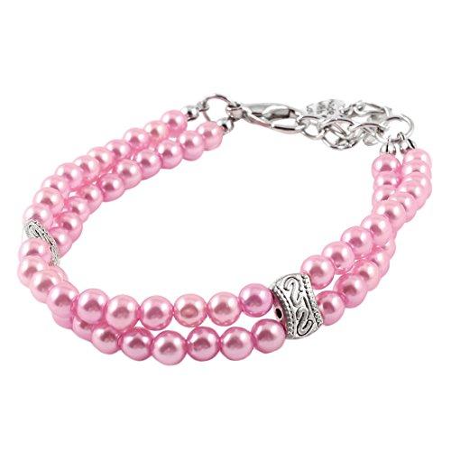 Sourcingmap Haustier Hund Yorkie Dual Zeilen Perlen Dekoration Halsband Halskette, klein, pink (Yorkie-perle)