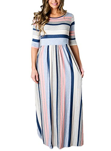 Annflat Women's Summer Multi Stripes Half Sleeve Round Neck Casual Long Maxi Dress S-XXL