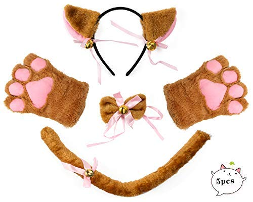 Beelittle Cat Cosplay Costume Oreilles de chaton Tail Collar Paws Cat Collection Cosplay 5 Pack (Brown)