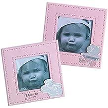 Curia grabador Portafoto para Bautizo en Cuero Rosa Personalizado con Nombre y Fecha. Pack 10