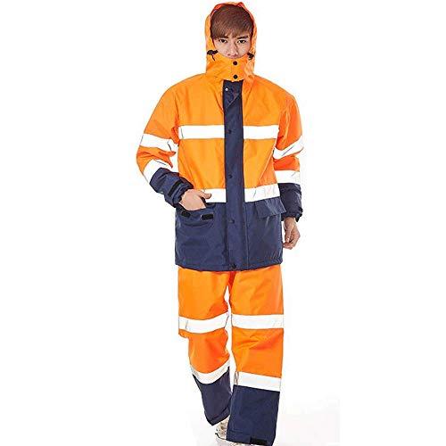 Erwachsene Regenmäntel Guyuan Sicherheit reflektierende Streifen Split Regen Kleidung passt verkehrspflichtige Männer und Frauen im Freien aufgeteilte Reiten (Color : Orange, Size : XXXL)