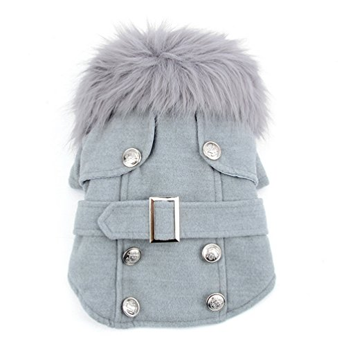 Pet Cat Dog Clothes European Woolen Fur Collar Coat Small Dog Cat Pet Clothes Costume Light Grey M by ()