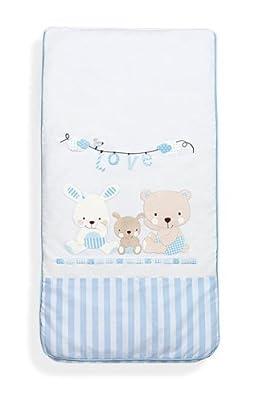 Edredón Cuna estandar (120x60) tres piezas Conejito Flores Azul, incluye edredón + protector + almohada.