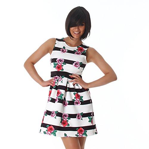 Voyelles di Damen Abito mini abito abito da cocktail svasati fiori del pannello esterno strisce girocollo dalla spiaggia del vestito del partito Bianco