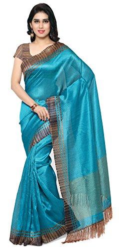 Rajnandini Women\'s Tussar Art Silk Saree (Joplnb3004, Teal Green, Free Size)