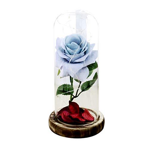 Wingbind Neuheit getrocknete Blume in Glaskuppel mit LED-Licht, Blume Bell Cloche Glas auf Einem Holzsockel Nachttischlampe für Valentinstag Jubiläum Geburtstag Hochzeit -
