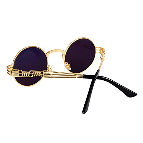 hibote Femmes Hommes Steam Punk Round M¨¦tal Lunettes de soleil Gold/Or-8010