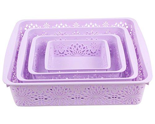 Miamour 4 Piece Plastic Basket, Purple