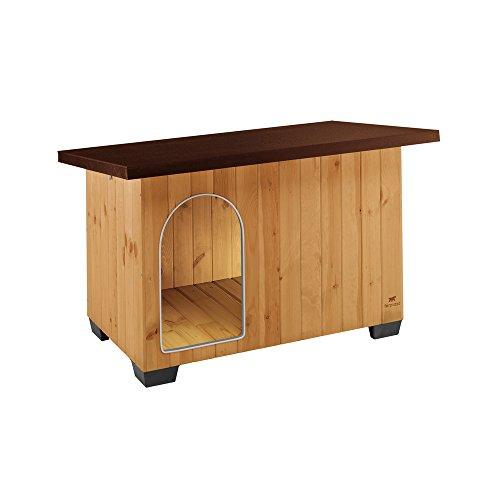 ferplast casetta per cani da esterno baita 100 cuccia in legno ecosostenibile, piedini isolanti in plastica, porta con antimorso in alluminio, tetto apribile, 121 x 78 x h 78,5 cm