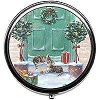LinJxLee Christmas Outdoor Gift cat Round Pill Case Pill Box Tablet Vitamin Organizer Easy to Carry preisvergleich bei billige-tabletten.eu
