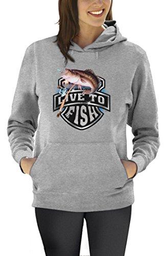 Live To Fish Bass Fischer Motiv Angeln Frauen Kapuzenpullover Hood XXXX-Large Grau (Bass Angeln Fischen T-shirt)