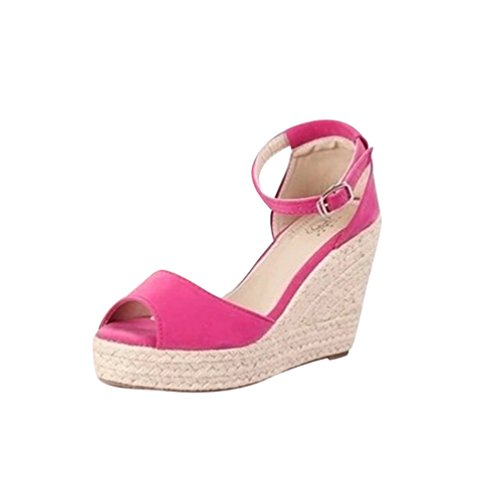 Lvguang sandali donna elegante casuale sandali con zeppa tacchi spessi basse aperte peep toe sandali rosso,asia 36(23cm)