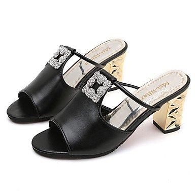 Donne'spantofole & flip-flops Primavera Estate Comfort PU Casual Chunky Tacco a piedi di strass US7.5 / EU38 / UK5.5 / CN38