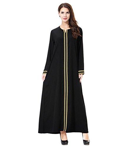 Dreamskull Damen Frauen Muslim Abaya Dubai Muslimische Kleid Kleidung Winter Kleider Arab Arabisch...