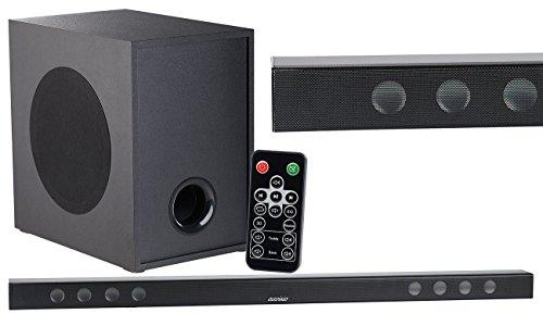 auvisio Aktiv Subwoofer: Soundbar mit Bluetooth, 3D-Sound-Effekt und kabellosem Subwoofer, 180W (TV-Soundbars Bluetooth)