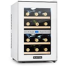 Klarstein Reserva • Nevera de vinos • Refrigerador bebidas • 34 L • 12 Botellas • 4 Estantes • Control Touchpad • 2 Zonas • Temperatura 11 - 18 °C • Iluminación del interior LED • Doble Cristal • Blanco