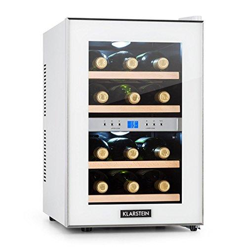 La primera vinoteca blanca con 2 zonas de enfriado programables para diferentes tiposde vino.           Manejo sencillo gracias al panel de control con pantalla LCD e indicador detemperatura interior.           Espacio para 12 botellas de vin...