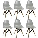 Milani Home s.r.l.s. Set di 6 SEDIE di Design Moderne in ABS Grigio Struttura in Metallo Verniciato Nero Gambe in Legno MASSELLO di FAGGIO
