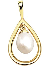 Surat Diamonds Drop Shaped Real Pearl & Gold Plated Silver Pendant For Girls (SP373)