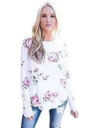 FEITONG mujer de manga larga Blusa de la impresión camiseta de las tapas