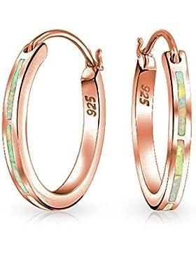 Bling Jewelry 925 Silber Klapp-creolen aus synthetischen Weiß opal Rose Gold plattiert