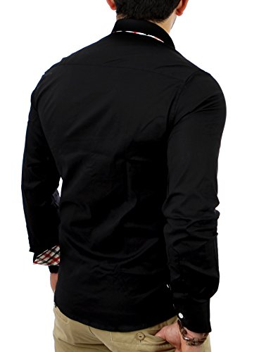 Reslad Herren-Hemd Slim Fit Kontrast Karo-kragen Langarm-Hemd RS-7200 Schwarz