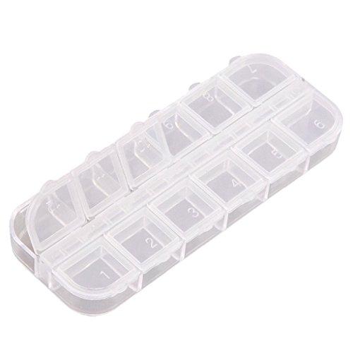 Baosity Plastique Boîte de Rangement à 12 Compartiments Détachables Boîtier Organisateur de Glitter Strass Nail Art, Faux Ongles, Fleur Séché