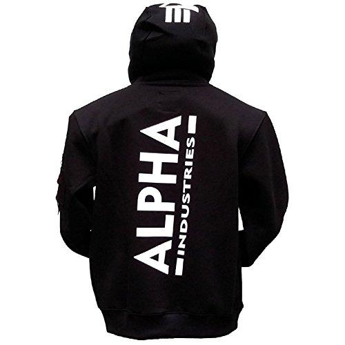 Alpha Back Print Hoody kuscheliger Kapuzensweater mit Bauchtasche und Multifunktionstasche mit Siebdruck, Größe:M, Farbe:black (Alpha Pullover)