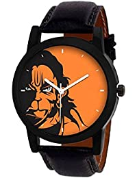 Gopal Shopcart Hanuman Printed Analogue Watch For Men And Women With Leather Belt And Orange Dial (GR_32_1)