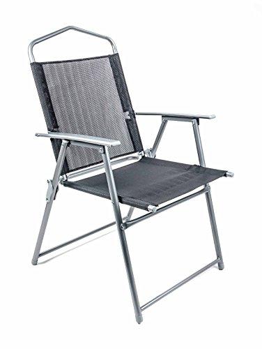 Lifetime Camping Klappstuhl, Metallgestell, Textilbespannung, Design modern, faltbar, Gewicht ca. 3,75 kg, lieferbar in den Farben Schwarz oder Grau (Schwarz)