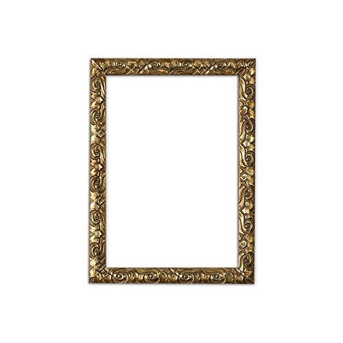 11x14 (Bilderrahmen in Gold - 14 x 11 zoll - Antik-Look mit Verzierungen / Posterrahmen / Fotorahmen aus bruchsicheren Plexiglas aus Styrol für hohe Klarheit & Rückwand aus MDF)