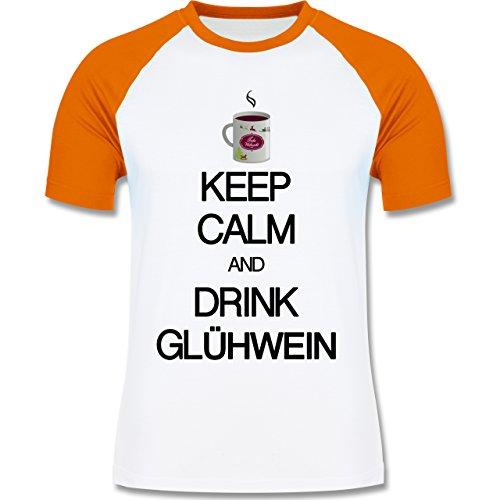 Keep calm - Keep calm and drink Glühwein - zweifarbiges Baseballshirt für Männer Weiß/Orange