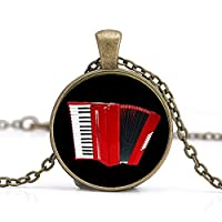 Vintage Elegant Red Accordion Pattern Key Chain Popular Musical Instrument Keychain Jewelry Musician Music Fans Gift