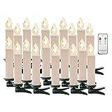 Candeline natalizie a LED, con telecomando, senza fili, con timer, per albero di Natale, decorazione natalizia, matrimonio, compleanno, festa, bianco, Warmweiß-20er