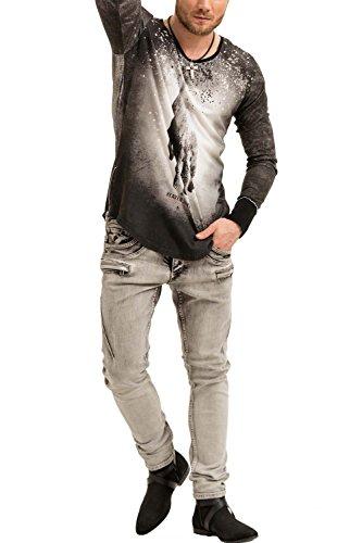 trueprodigy Casual Herren Marken Long Sleeve mit Aufdruck, Oberteil cool und stylisch mit Rundhals (Langarm & Slim Fit), Langarmshirt für Männer bedruckt Farbe: Schwarz 1073167-2999 Black