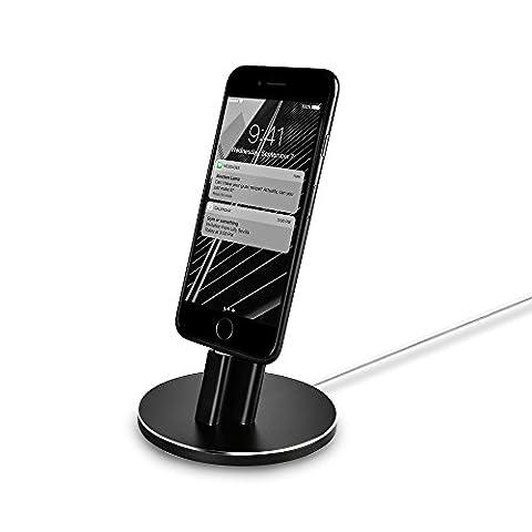 Aluminum Mount Desktop Stand Dock Station für iPhone 7 7plus 6s 6 6 plus 5s 5 5c (kein Kabel in) Aluxury Series Schwarz by POWERILLEX