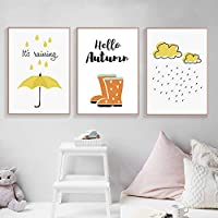 ZJMI Decorative Paintings Cartoon Umbrella Art Canvas Painting Poster Clouds Rain Boots Canvas Prints Nursery Home Decor Wall Pictures For Baby Room No Frame