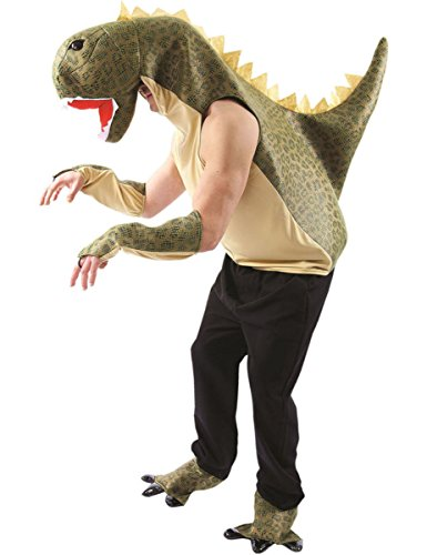 Adult Unisex Green T-Rex Dinosaur Animal Fancy Dress Costume