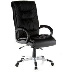 HJH Office 621560 - Silla de oficina de cuero desdoblado auténtico, color negro
