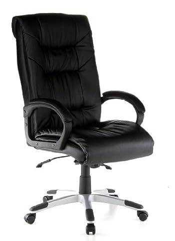 hjh OFFICE 621560 chaise de bureau, fauteuil de direction PRESIDENT SOFT noir en cuir, avec accoudoirs, grand confort d