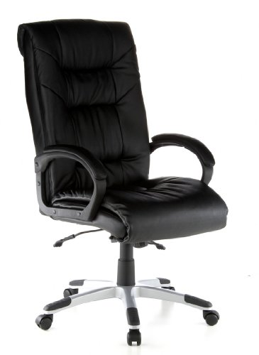 hjh OFFICE 621560 silla de oficina PRESIDENT SOFT cuero negro, ergonómico, buen acolchado, cuero real, inclinable, muy cómodo, con apoyabrazos acolchados, fácil de limpiar, estable, silla escritorio, sillón oficina