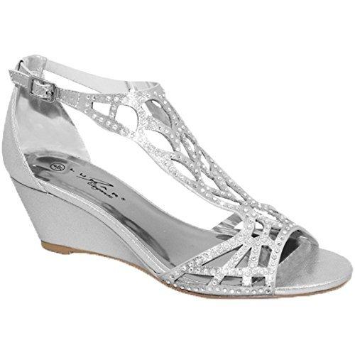 Fantasia Boutique flc111 Denton Strass Ruban Diamant Sandales Semelle Compensée Bout Ouvert Sac à Main