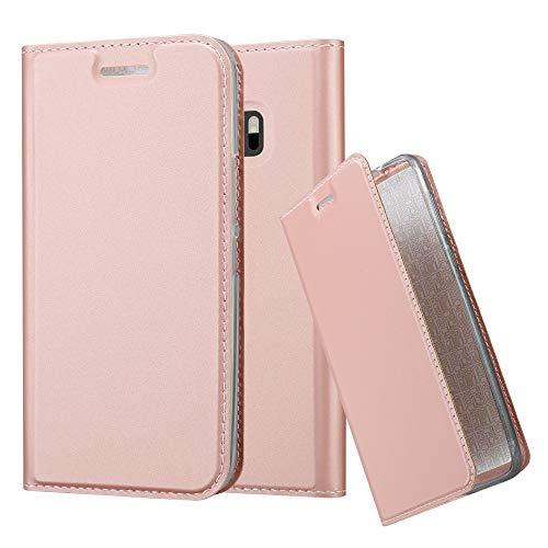 Cadorabo Hülle für HTC One M10 - Hülle in ROSÉ Gold – Handyhülle mit Standfunktion und Kartenfach im Metallic Look - Case Cover Schutzhülle Etui Tasche Book Klapp Style
